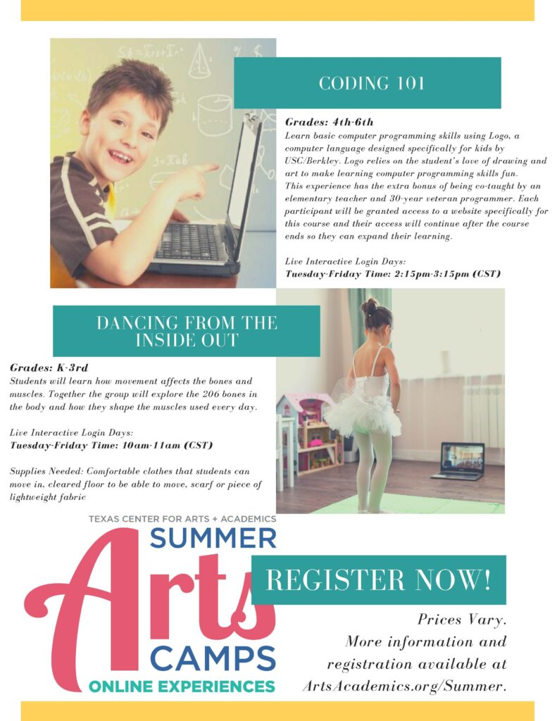 Online Summer Camps Begin Tuesday!